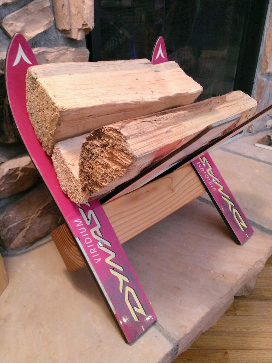 Recycled Ski Firewood Rack
