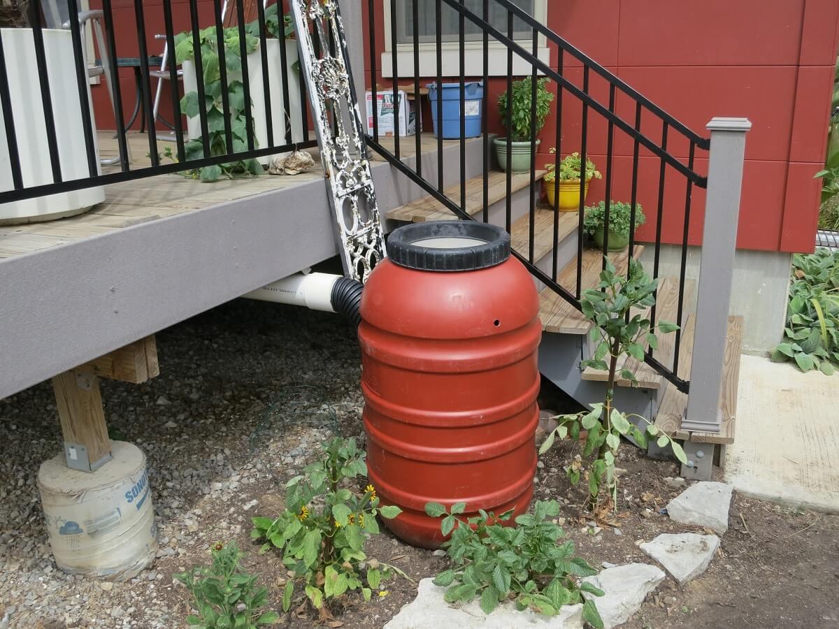 red rainwater barrel