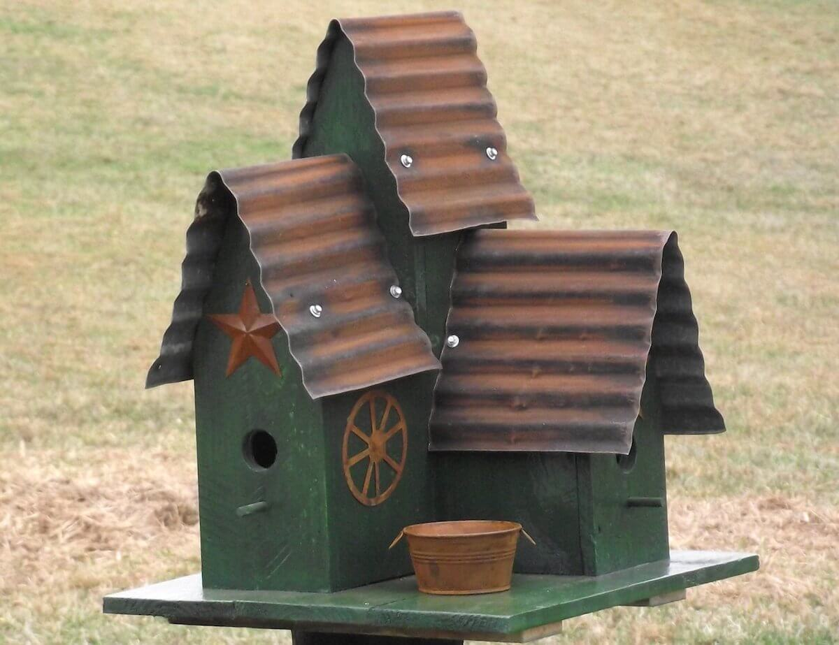 Repurposed Wood and Tin Birdhouse