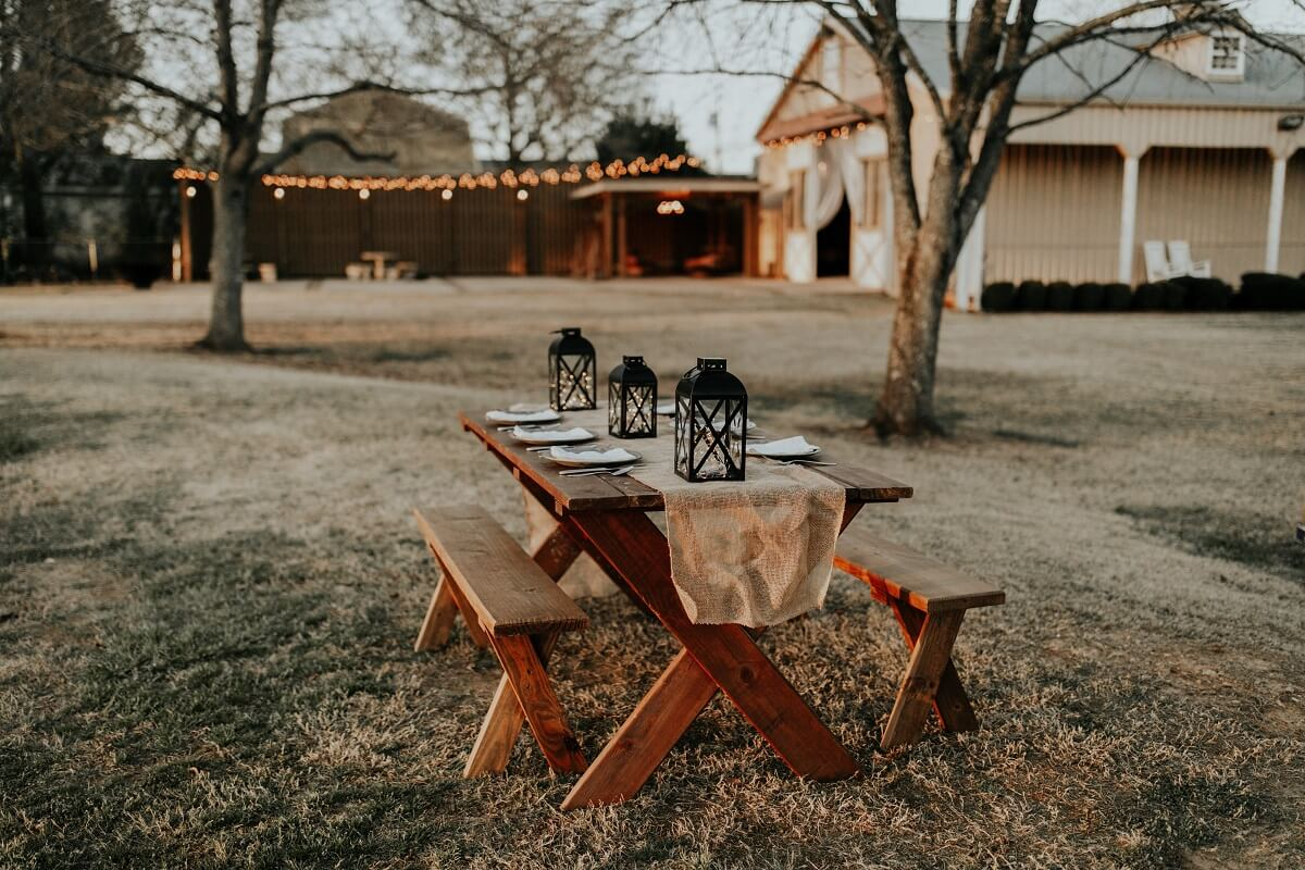 rustic picnic table with dining set