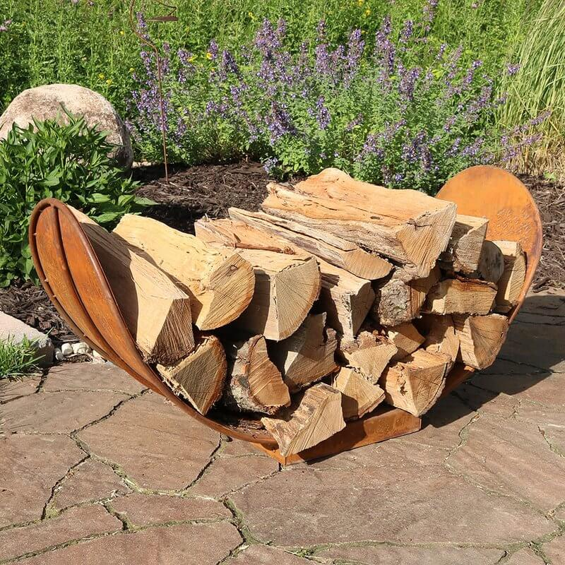 Rustic Rounded Firewood Storage