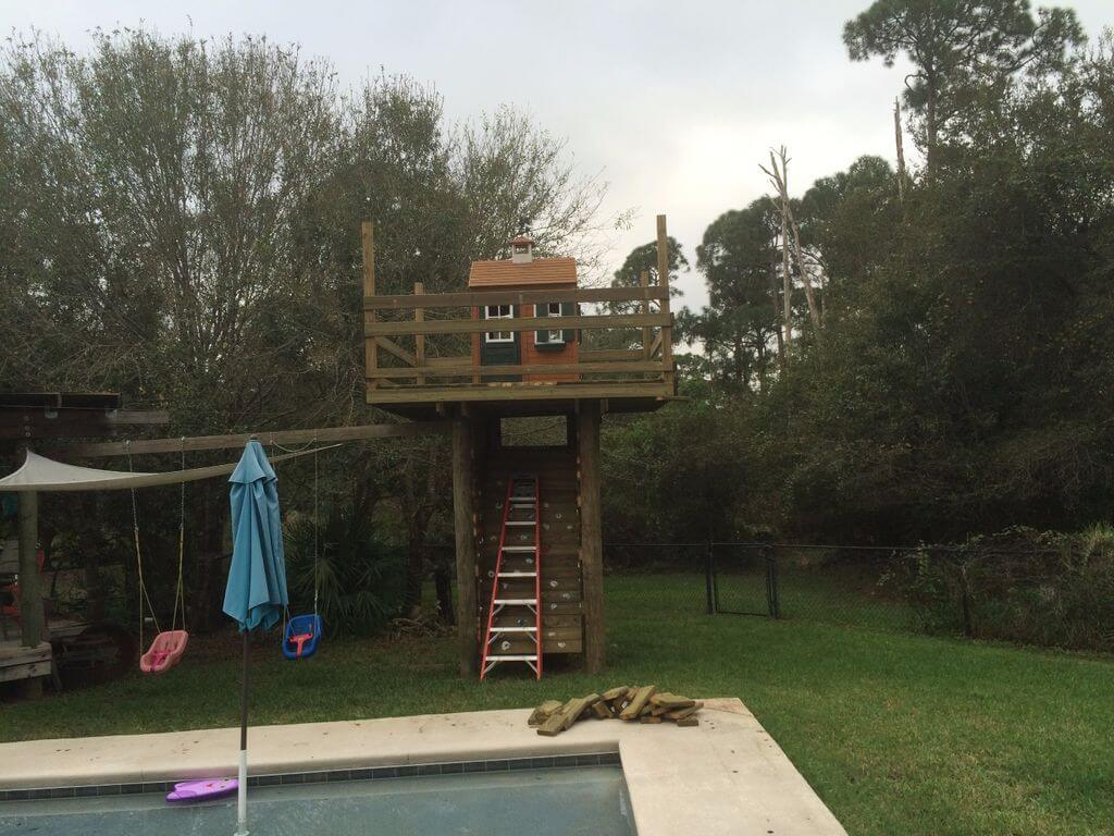Treehouse with Climbing Wall