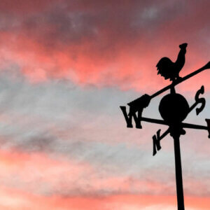 weathervane at sunset