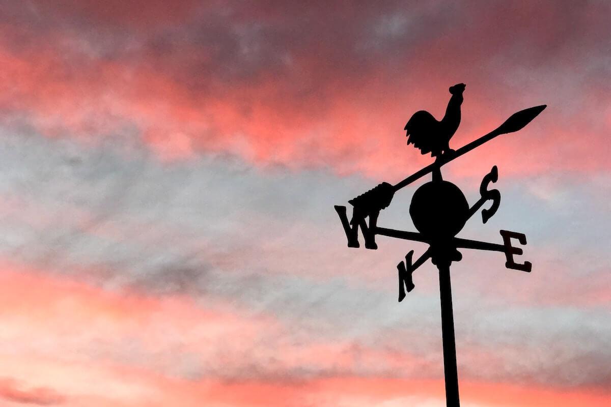weathervane at sunset