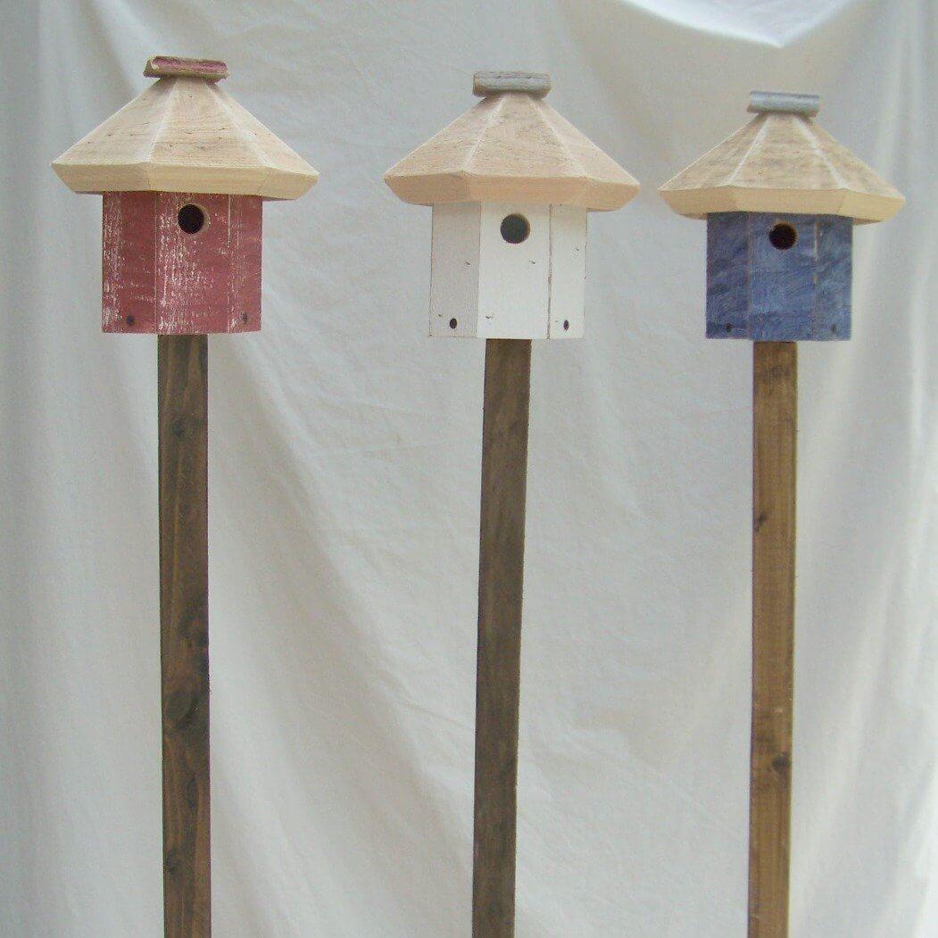 Wood Bird House on a Pole