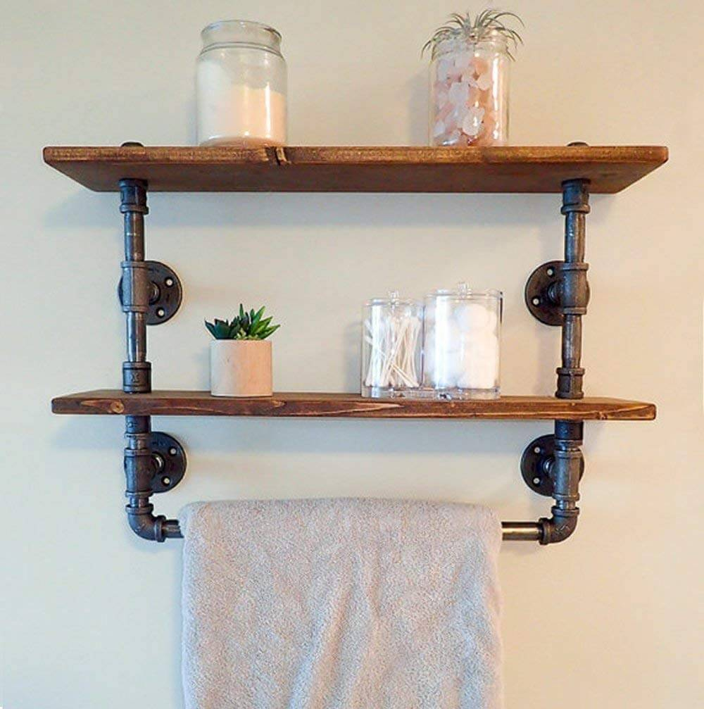 Bathroom Pipe Shelving