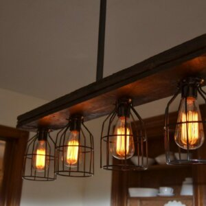 caged wood kitchen island pendant light