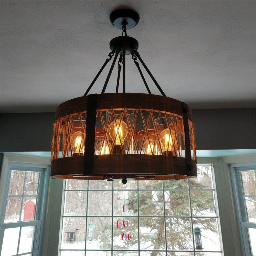 Farmhouse Style Pendant Light With Yarn Details