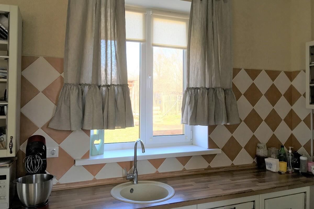 Farmhouse Style Ruffled Linen Kitchen Curtains
