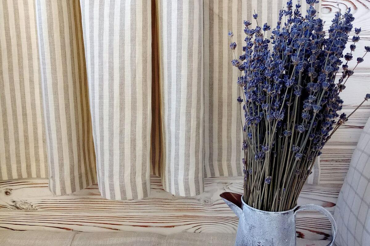 Grey Striped Linen Kitchen Curtains