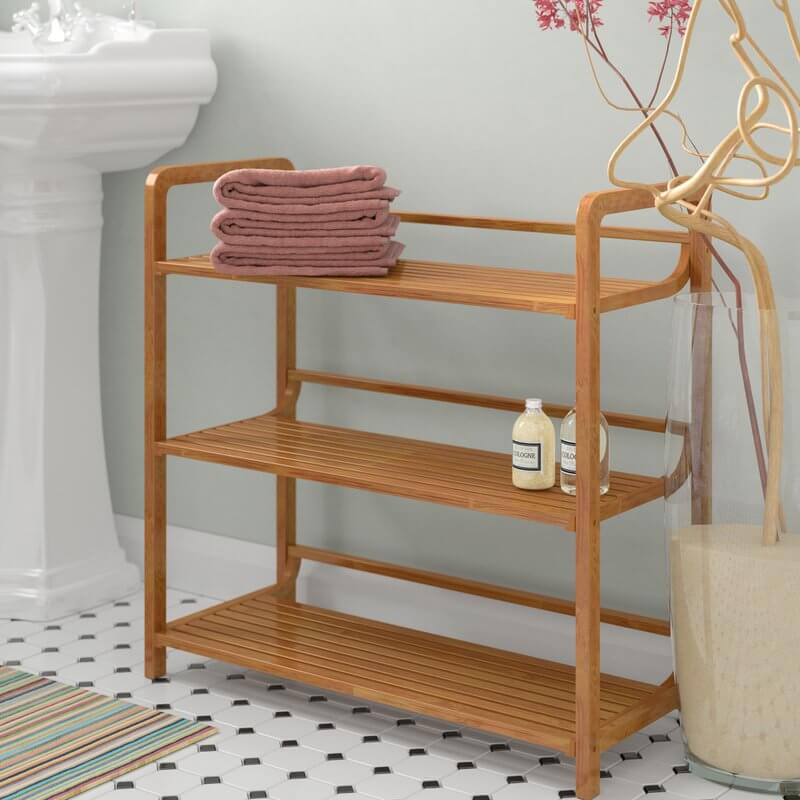 Horizontal Bamboo Bathroom Shelves