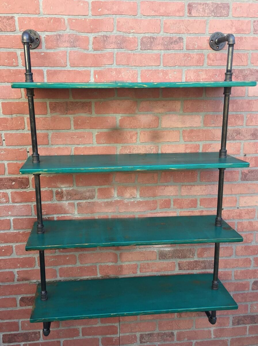 Industrial Bathroom Pipe Shelf