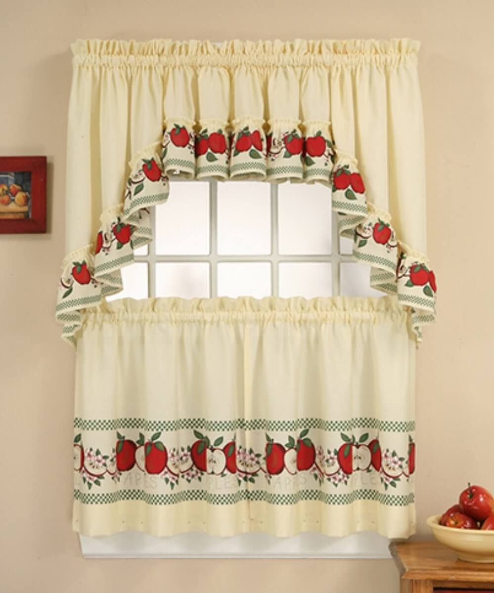 Kitchen Curtains With Apple Details