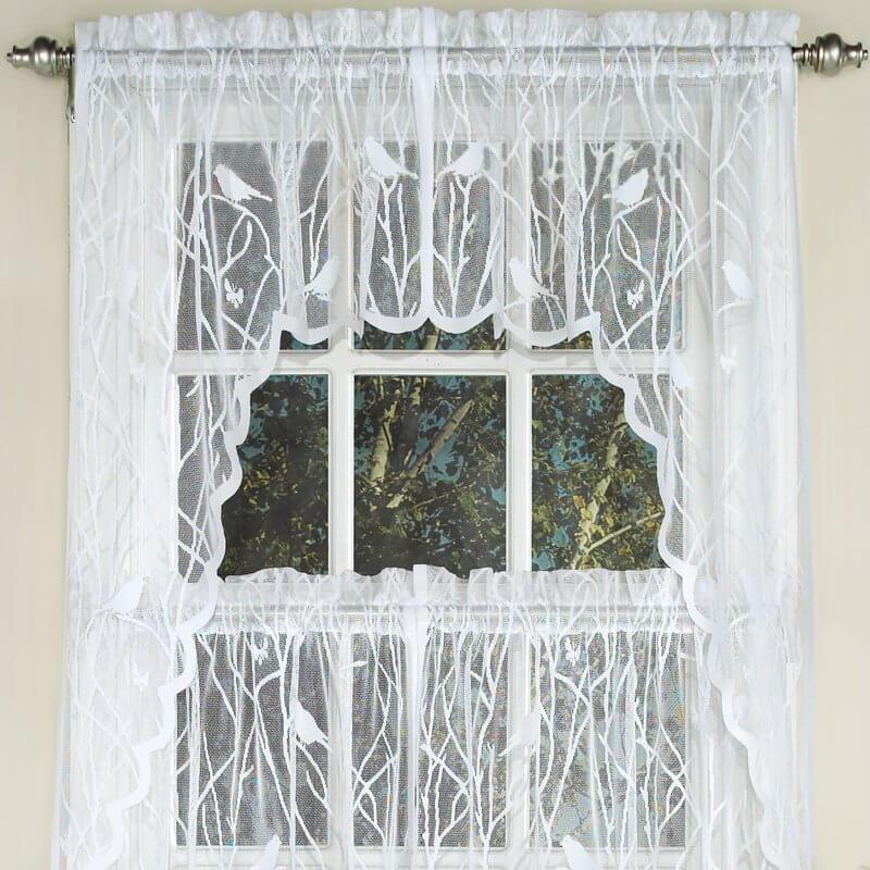 Knit Lace Bird Kitchen Curtains
