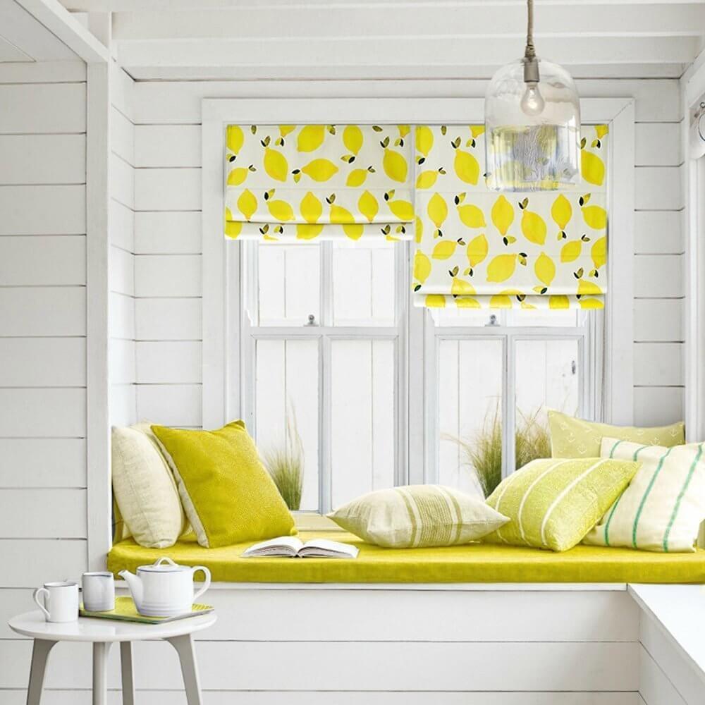 Lemon Kitchen Roman Curtains