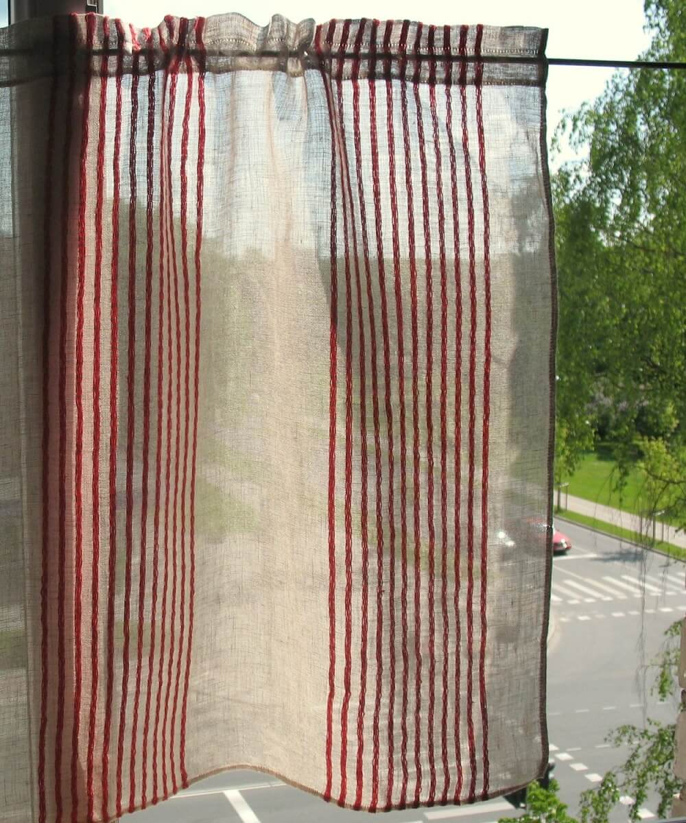 Red Stripped Kitchen Curtains
