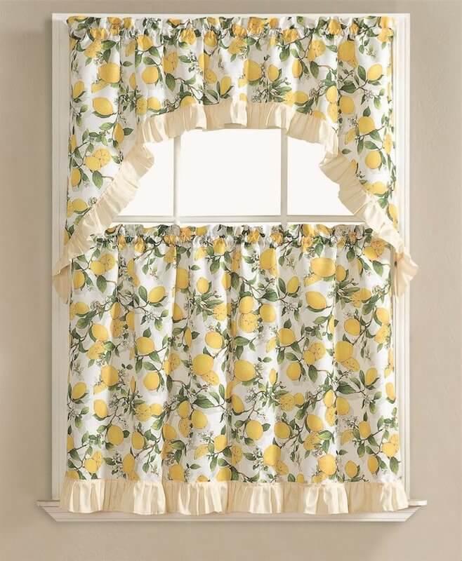 Retro Lemon Kitchen Curtains