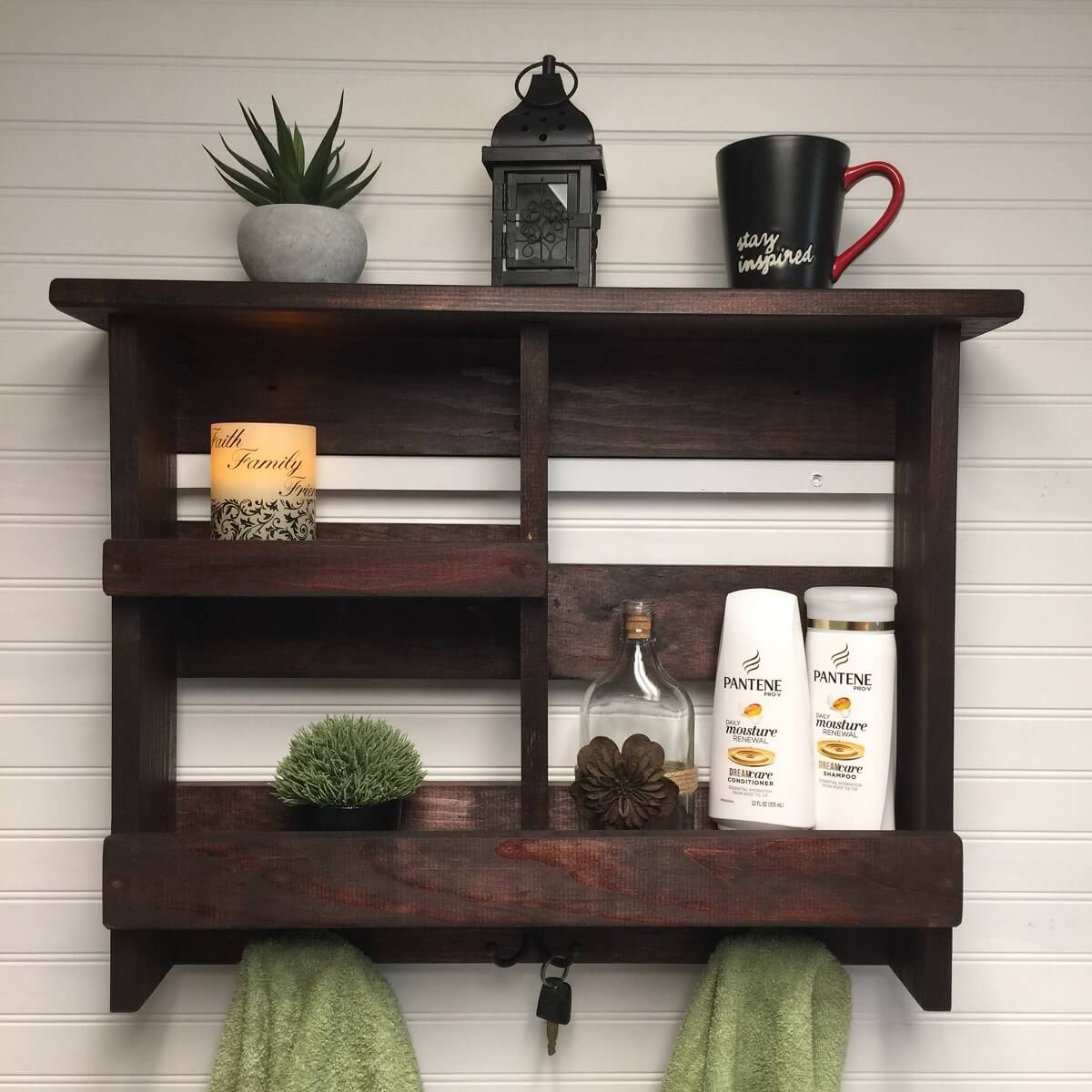 Rustic Bathroom Shelf Organizer