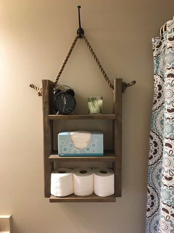 Rustic Rope Bathroom Shelf