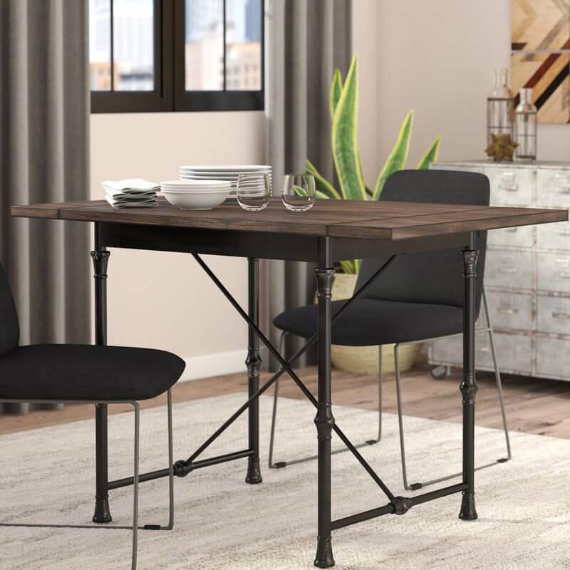 Wood and Metal Drop Leaf Table