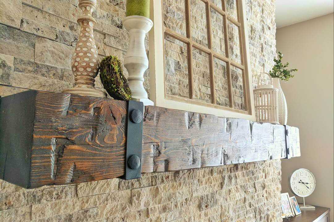 Barn Beam Fireplace Mantel