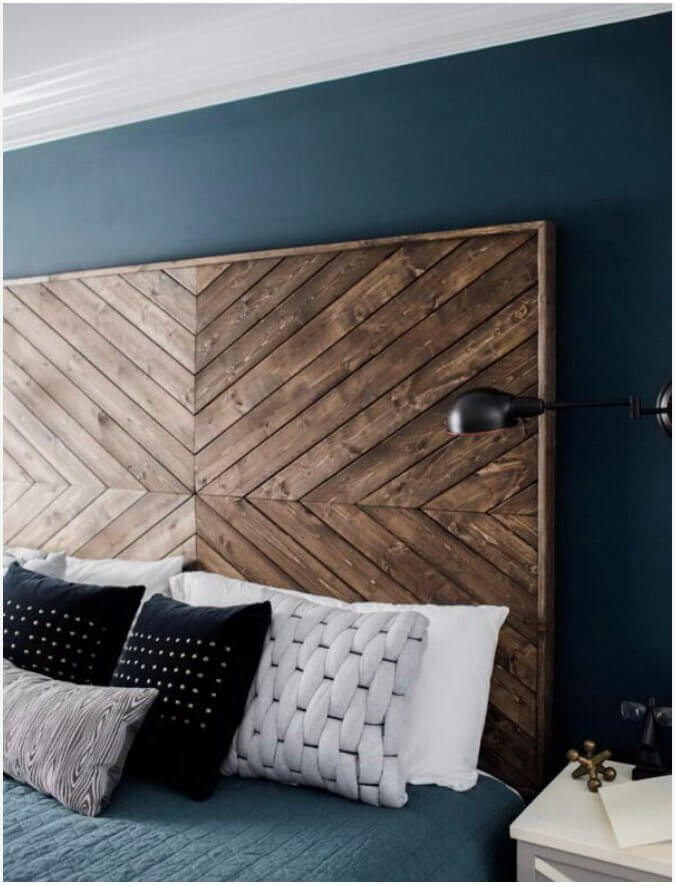 Custom Chevron Wood Headboard