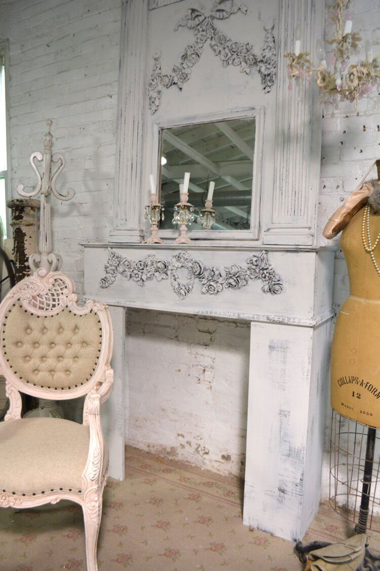 Hand Painted Shabby Chic Fireplace Mantel