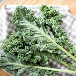 kale on plaid napkin