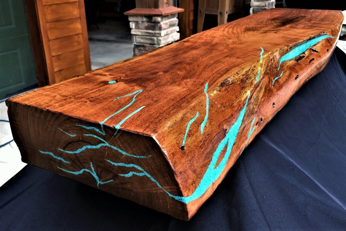 Mesquite Live Edge Fireplace Mantel