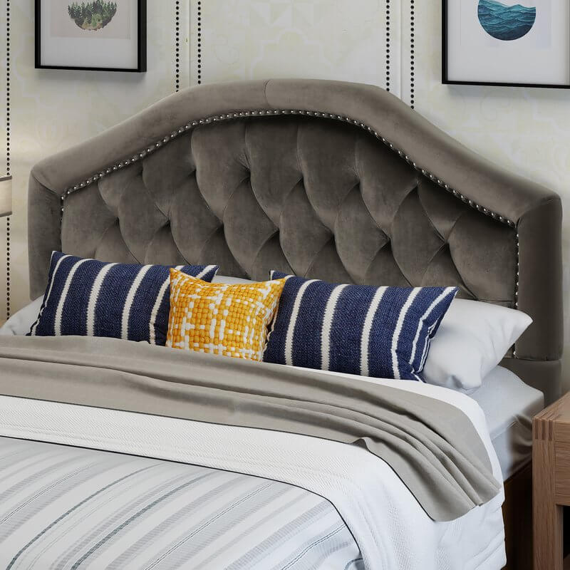 Velveted Upholstered Headboard