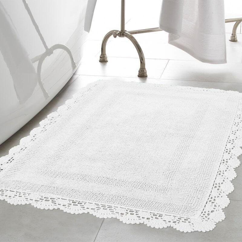 100% crocheted cotton bathroom rug