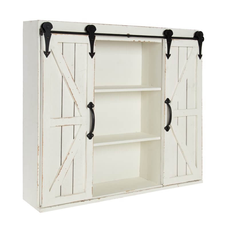 Barn Door Style Kitchen Shelves