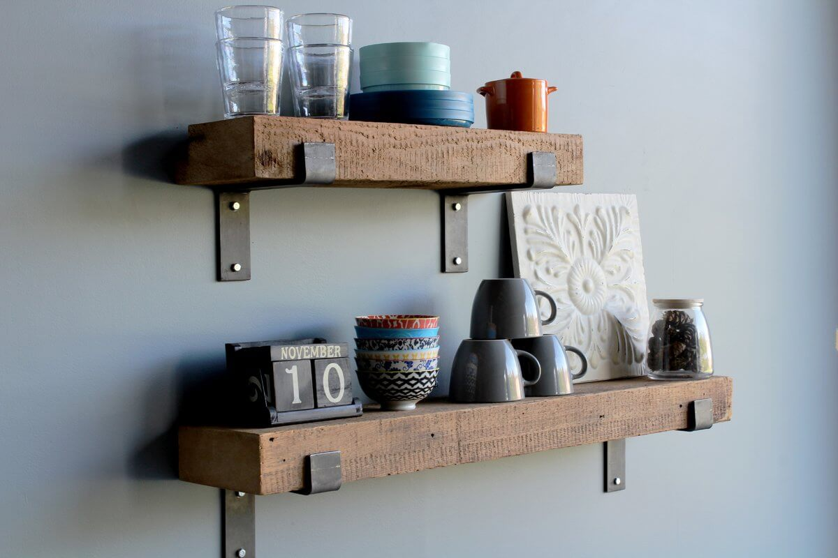 Chunky Wood 2-Piece Kitchen Shelves