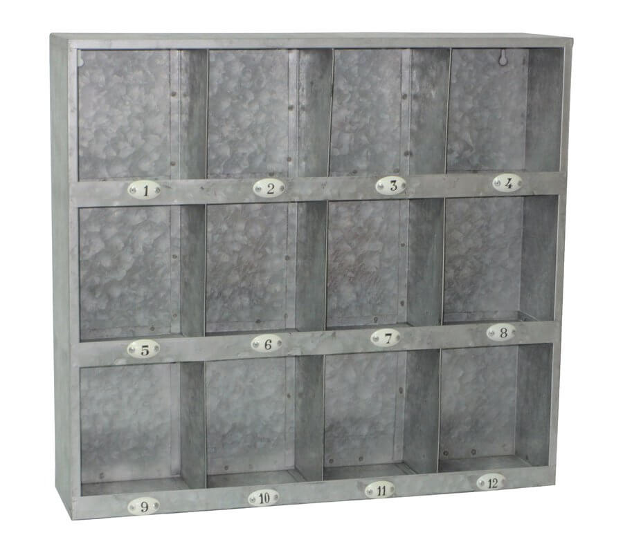Galvanized 12 Cubby Wall Shelf
