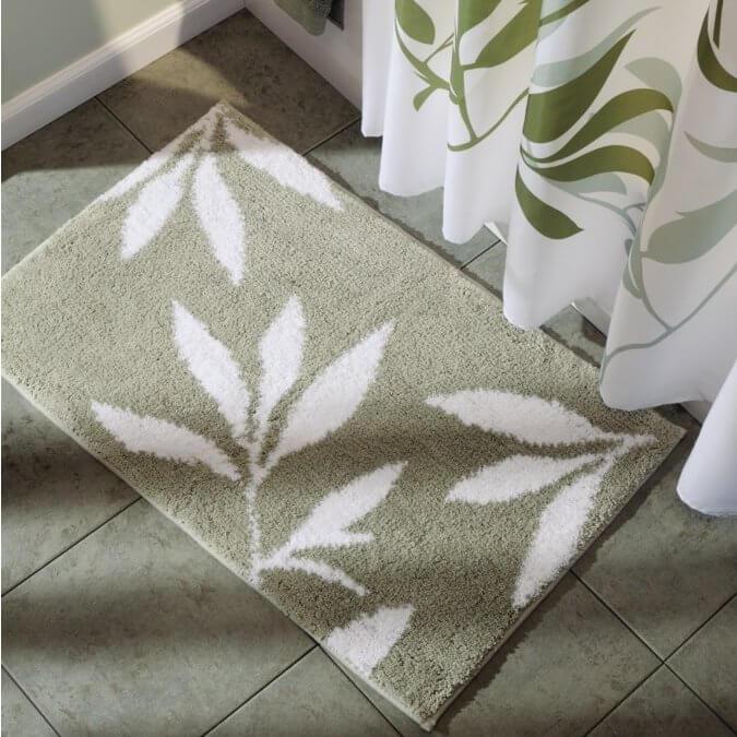 Microfiber Leaves Bathroom Rug