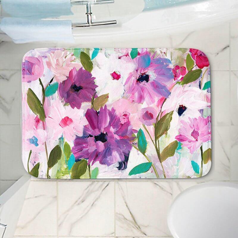 Painted Floral Bathroom Rug