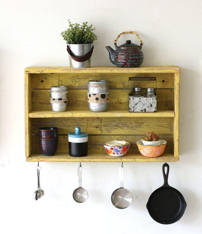 Reclaimed Wood Kitchen Shelf With Hooks