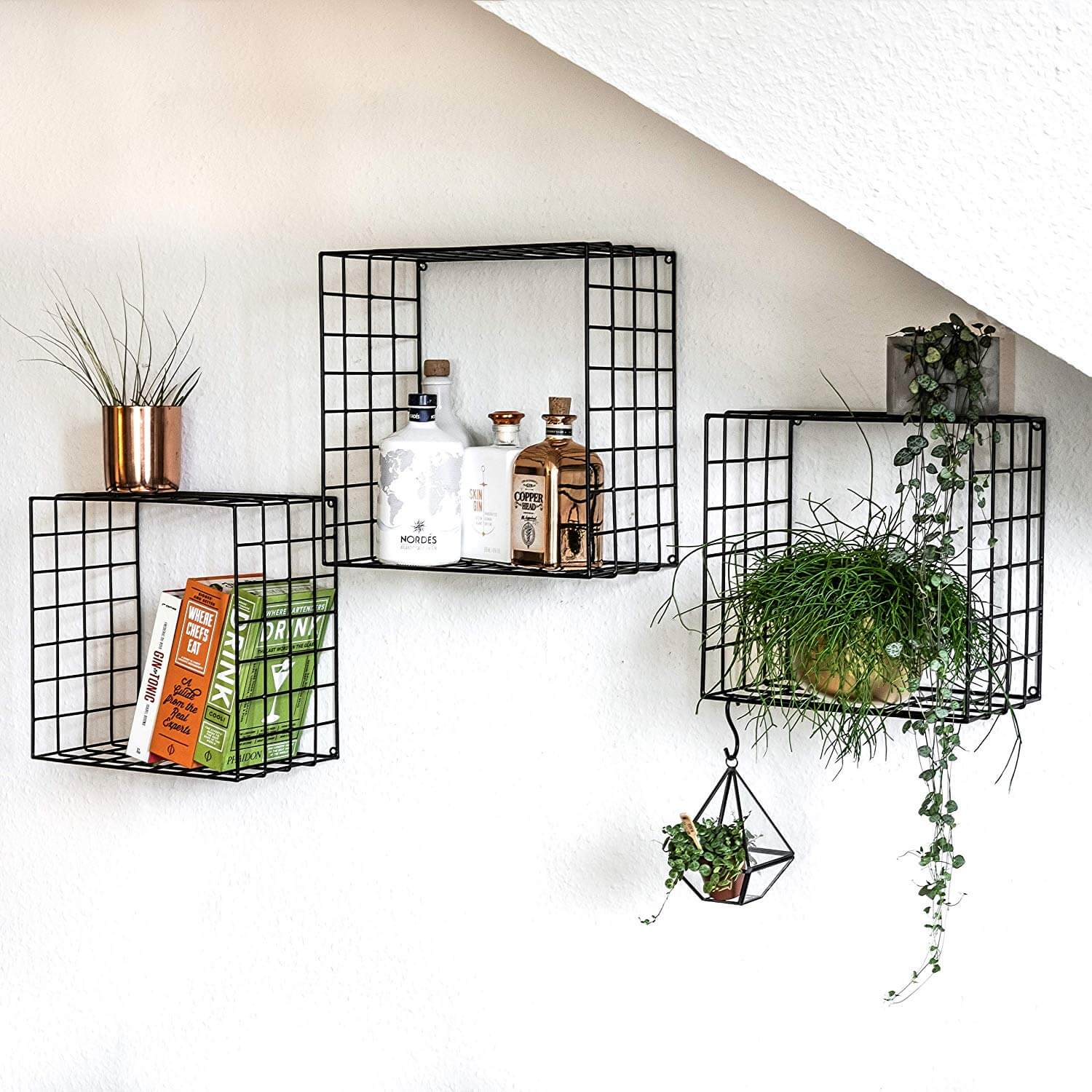 Set of 3 Floating Basket Shelves
