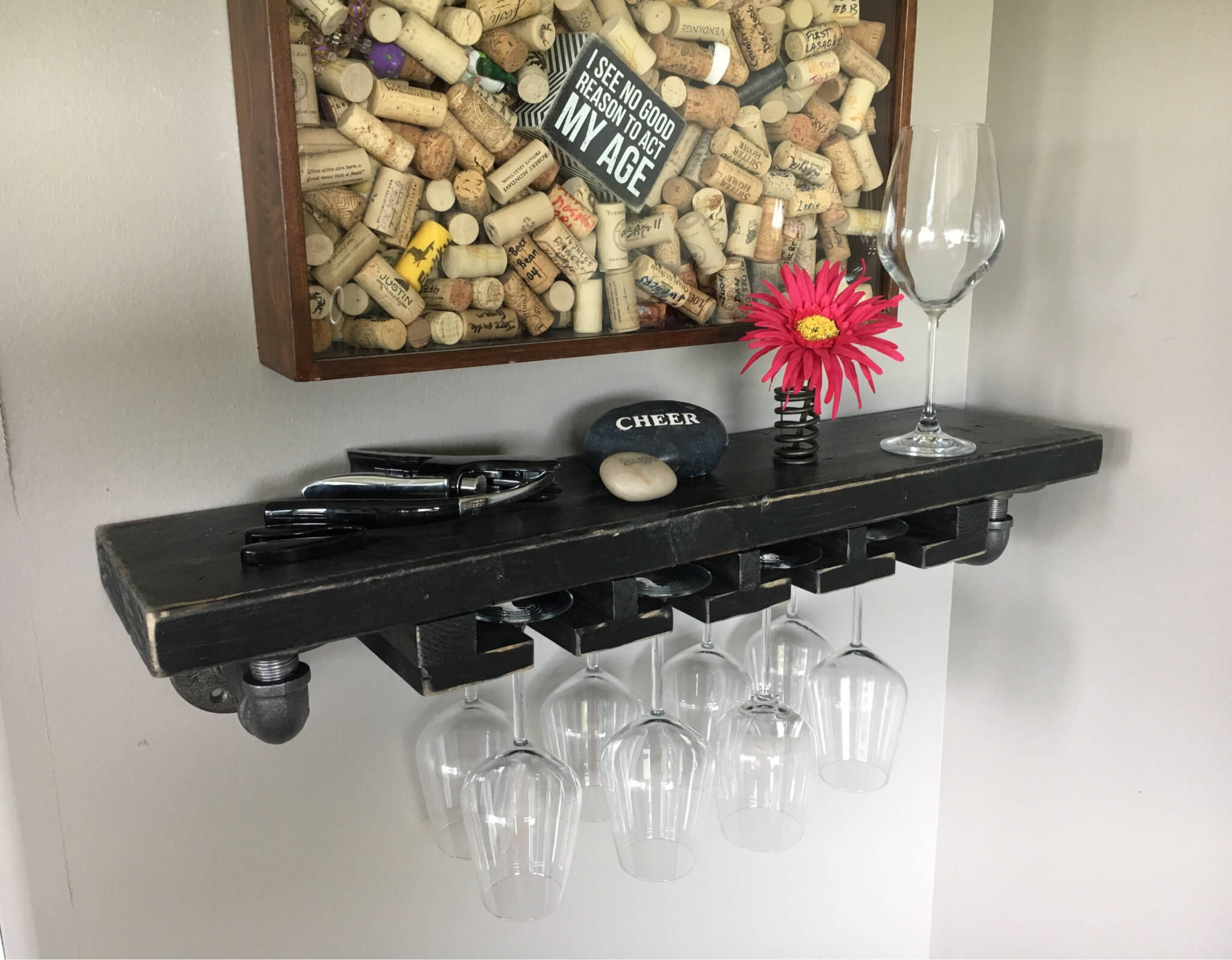 Solid Wood Wine Glass Shelf