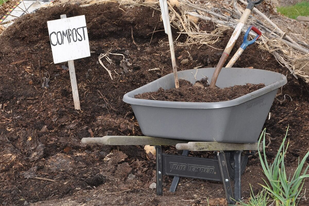 compost bin and sign