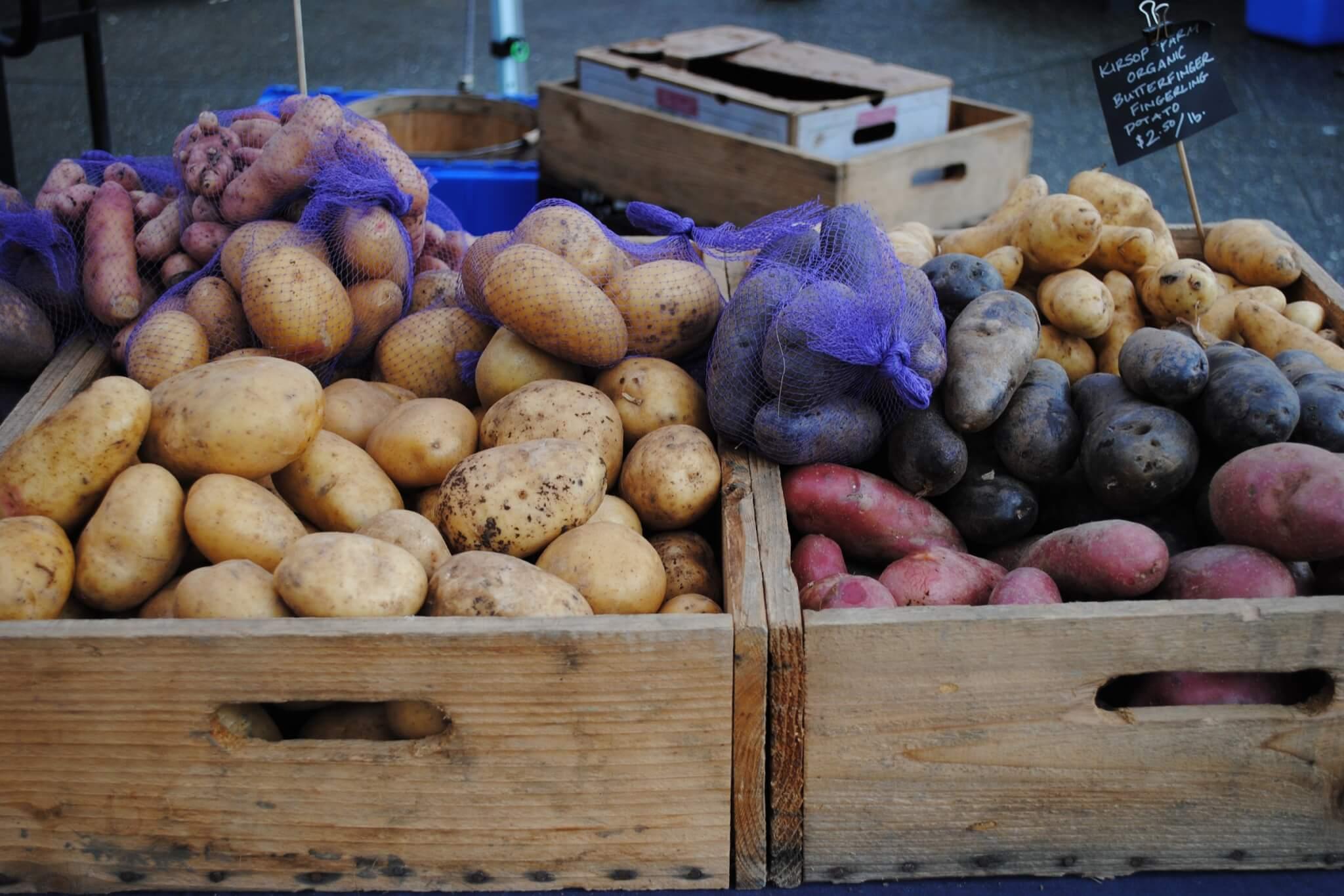 potatoes in bin