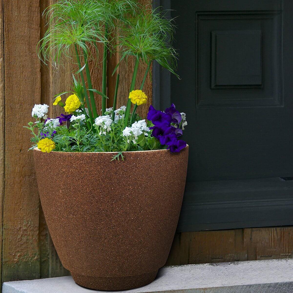 granite brown resin planter