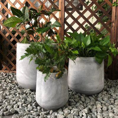 Cylinder 3-Piece Concrete Planter