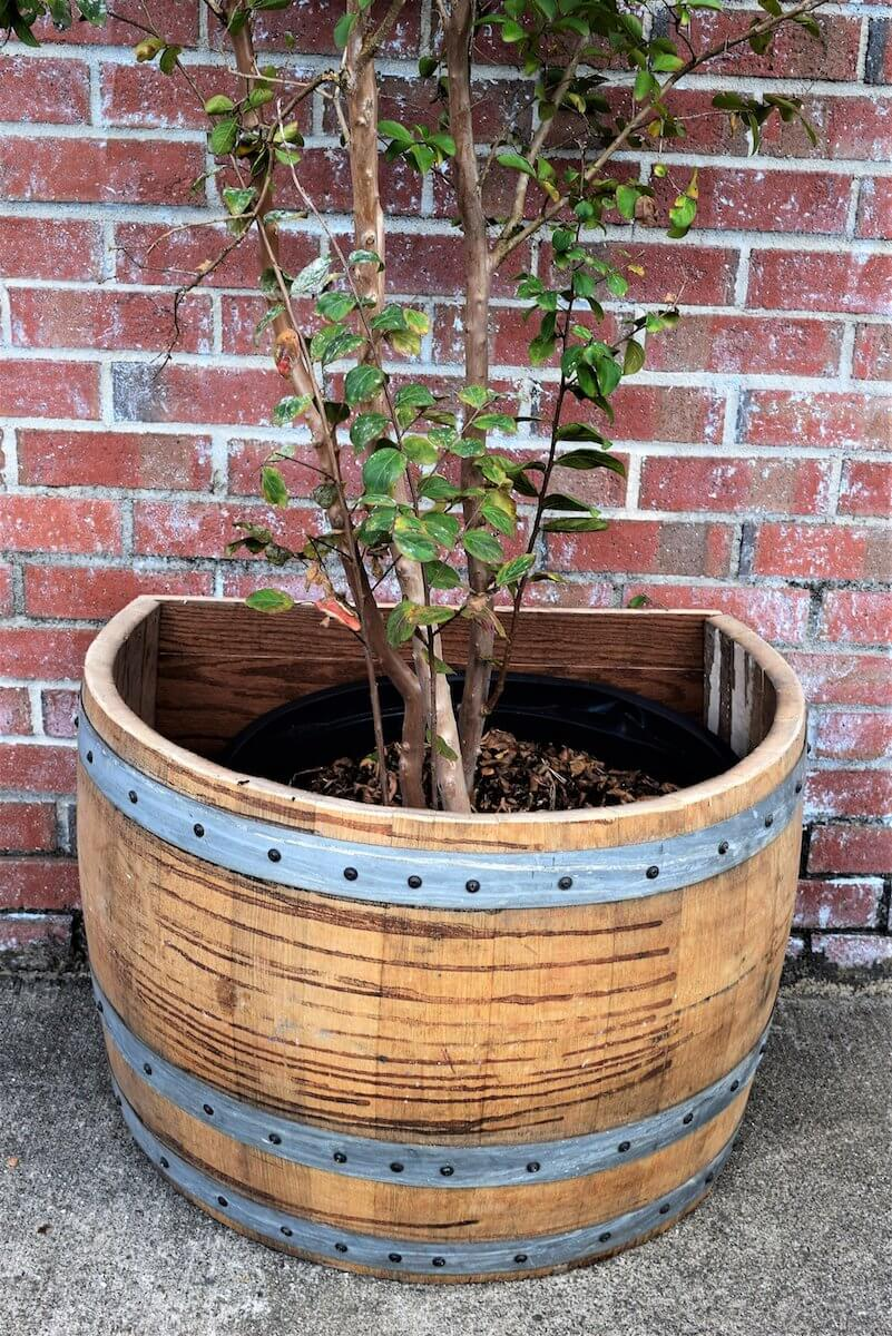French Oak Wine Barrel Planter