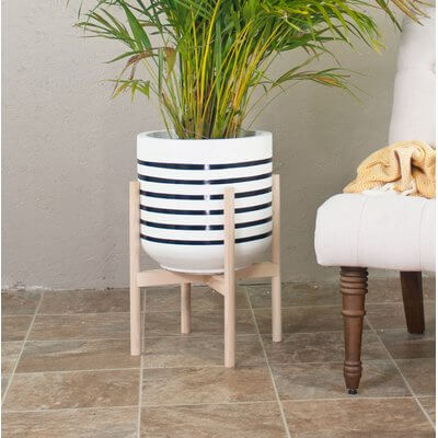 Large Striped Planter With Stand