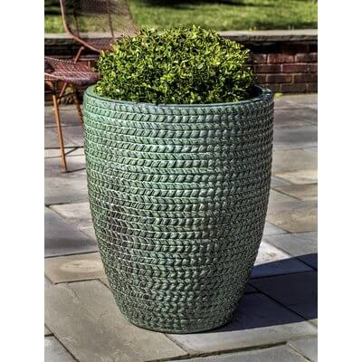 Set of Two Textured Terracotta Planters