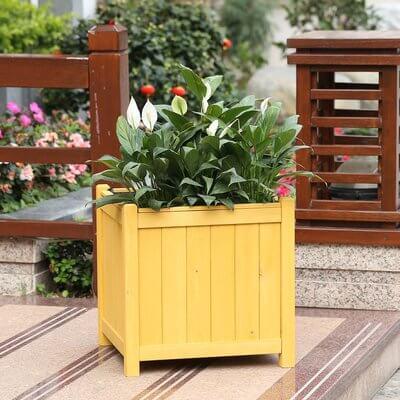 Square Wood Large Planter Box