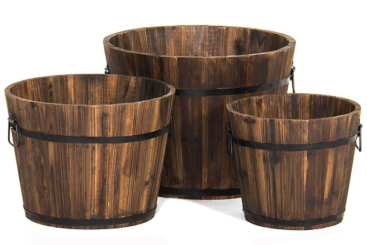 wine barrel planter set