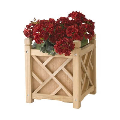 Wood Planter Box with Geometric Details