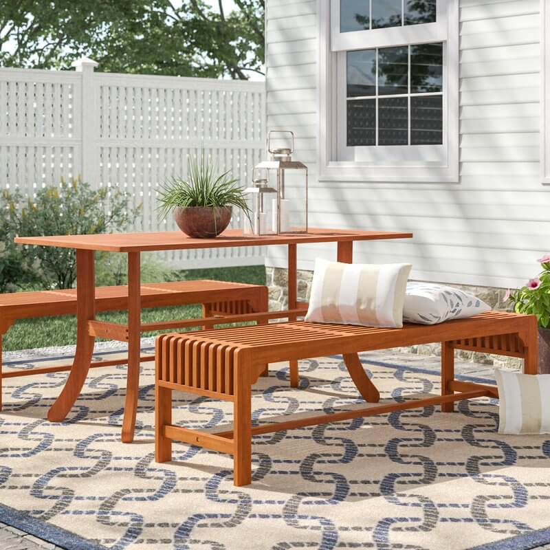 3-Piece Wood Bench Patio Dining Set